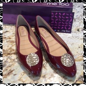 """Brand New """"ME TOO"""" Patent Burgundy/gold Flats"""